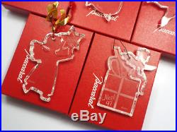 Baccarat Crystal 14 Annual Christmas Noel Ornaments, 1985 & 1987-1999, with boxes
