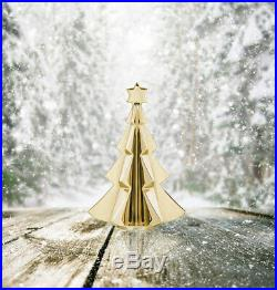 Baccarat Crystal 2017 Noel Fir Tree Gold NEW With RED BOX SET