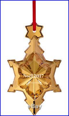 Baccarat Crystal Noel 2017 Christmas Snowflake Ornament Gold 3 3/4 H New