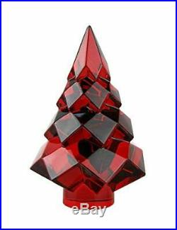 Baccarat Crystal Noel Megeve Fir Red Christmas Tree NEW With RED BOX SET