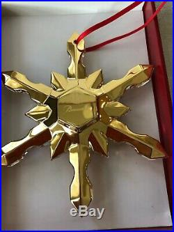 Baccarat Gold SNOWFLAKE CHRISTMAS ORNAMENT Crystal #2811191 New in Box Rare