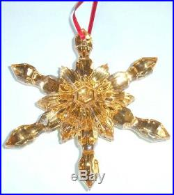 Baccarat Noel Snowflake Ornament Gold Luster 2811191 French Crystal New In Box