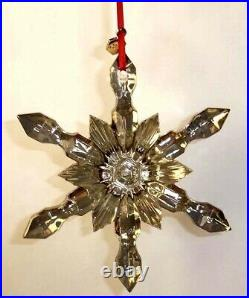 Baccarat Noel Snowflake Ornament Lt Gold French Crystal 2015 New in Box 2809184