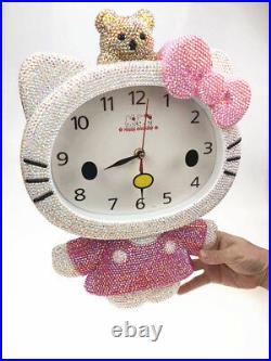Bling Hello Kitty Bear Crystal Diamond Wall Clock! Best Decoration! Best Gift