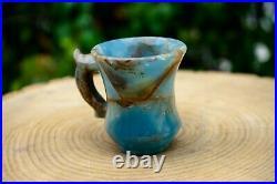Blue Onyx Crystal Tea Cup Set Hand Carved Ornamental Gemstone Cup & Saucer RARE