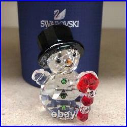 Bnib Swarovski Crystal Snowman W Candy Cane Christmas Ornament Rare Retired