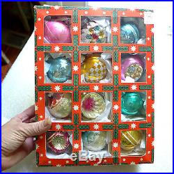 Box 12 Pretty Pink Teal Germany Shiny Brite Indent Germany Glass Xmas Ornaments