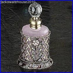 Braid Basket withPink Crystal Flower Perfume Bottle Fragrance Container Decoration