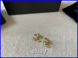 CHANEL CC Large Stud Gold Crystal Earrings 100% Authentic