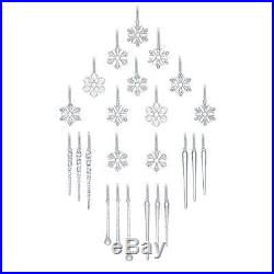 Christmas Glass Ornaments 24Crystal Adorns Icicles Frosted Snowflakes Tree Decor