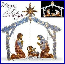 Christmas Nativity Scene 72 Crystal Yard Holiday LED Light Decoration Lawn Prop