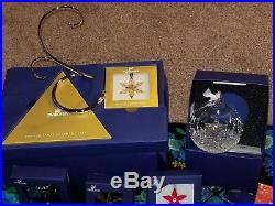 Complete set Swarovski crystal snowflake christmas ornaments plus extras