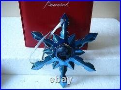 Crystal BACCARAT 2016 Snowflake Christmas Ornament BLUE New
