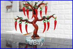 Crystal Glass Pepper Tree Ornaments with 12pcs Hanging Faceted Pepper Home Decor