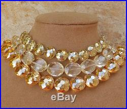 Czech Glass Chandelier Necklace Christmas Party Faceted Ornament Yellow Crystals