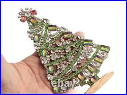 Czech crystal and rainbow rhinestone Christmas tree ornament decoration