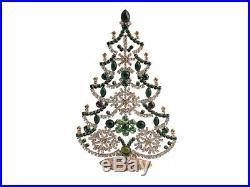 Czech red, green, crystal rhinestone cabochon Christmas tree ornament decoration