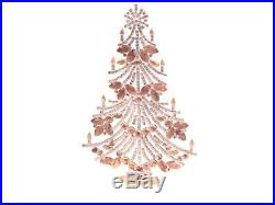Czech standing glass rhinestone Christmas tree ornament green crystal opaline