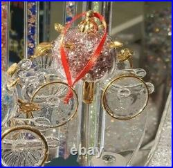 Disney Arribas CRYSTAL FILLED GLASS CINDERELLA CARRIAGE COACH ORNAMENT! Colors