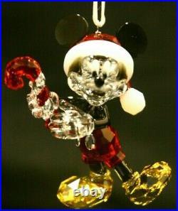 Disney SWAROVSKI Santa MICKEY MOUSE with Candy Cane Christmas ORNAMENT NIB