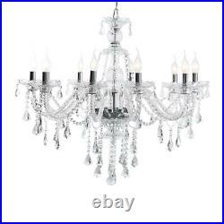 E12 10 Arms Transparent Clear Crystal Chandelier Home Decoration Pendant Lights