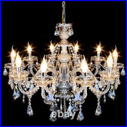 E12 Elegant Crystal Candle Decoration Chandelier Pendant Ceiling Light 10Lamps