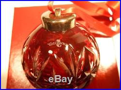 EXCELLENT Waterford Crystal Christmas Ornament 1999 RUBY RED Cased Ball in Box