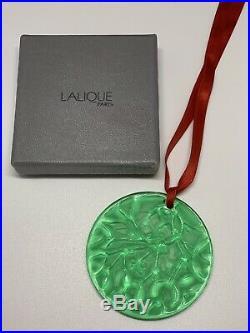 Emerald Green Lalique Crystal 1990 Mistletoe Christmas Tree Ornament BOXED MINT