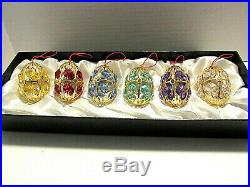 Faberge Multi Color Crystal Christmas Ornaments Set Of 6 In Orginal Box
