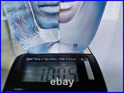 Female Masq Maleras Crystal Studio Art Statue In Blue By Mats Jonasson 18,5 CM