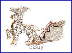 Free standing Czech crystal rhinestone reindeer and sleigh Christmas ornament