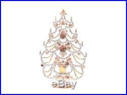 Free standing Czech glass rhinestone cabochon Christmas tree ornament crystal