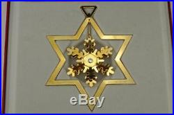 GEORG JENSEN 1987 GOLD PLATED Snow Crystal CHRISTMAS TREE MOBILE Decoration +BOX