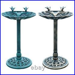 Garden Outdoor Traditional Ornament Bird Bath Pedestal Water Bowl Bronze / Green