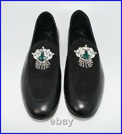 Giuseppe Zanotti Men's Crystal Floral Ornament Leather & Suede Loafer, MSRP $995