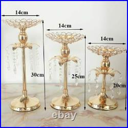 Gold Crystal Candle Holder Wedding Decor Table Centerpiece Candelabra Decoration