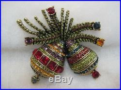 HEIDI DAUS Holiday Ornamental Christmas Bulb Duo Pin (Orig. $249.95)-LAST ONE
