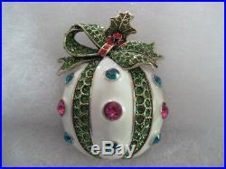 HEIDI DAUS Holly Jolly Crystal/Enamel Ornament Pin (Orig. $149.95)