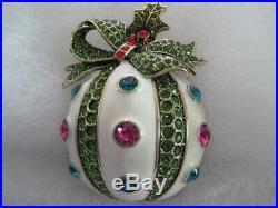 HEIDI DAUS Holly Jolly Crystal/Enamel Ornament Pin (Orig. $149.95)-LAST ONE