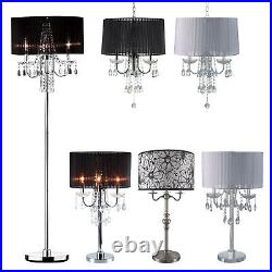 HONGVILLE Chrome Base withFaux Crystal Ornaments, Chandelier/Floor Lamp/Floor Lamp