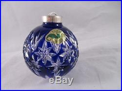 HTF WATERFORD CRYSTAL COBALT Cut-to-Clear Cased BLUE BALL CHRISTMAS ORNAMENT