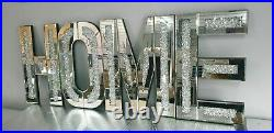 Home Letter Mirror and Crushed Crystal Wall Ornament, decorative HOME piece Hang
