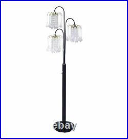 Hongville Elegance 3 Arm Chandelier Crystal Like Ornaments Shades Floor Lamp Bla