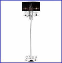Hongville HV FLAMP 6733F Chrome Base with Faux Crystal Ornaments Floor Lamp, Bla