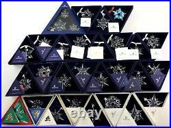 Huge Lot 28 Swarovski Crystal Christmas Snowflake Star Ornaments, Boxes 1990s+