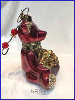 JAY STRONGWATER Red Teddy Bear Christmas Ornament withSwarovski Crystals & Hanger