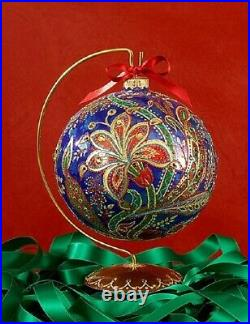 Jay Strongwater 2017 Opulent 6 Glass Ornament Blue Red Gold No Stand New No Box