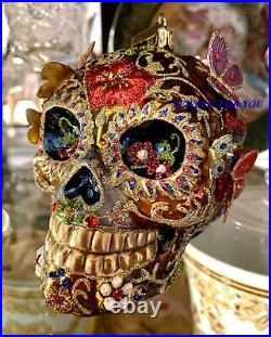 Jay Strongwater 4.5 Tall Skull With Butterflies Glass Ornament New Box
