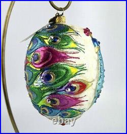 Jay Strongwater 5.5 Unique Vibrant Peacock Glass Ornament New Box