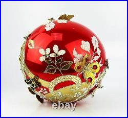 Jay Strongwater 6 Siam Artisan Floral Scroll Butterfly Ball Glass Ornament New